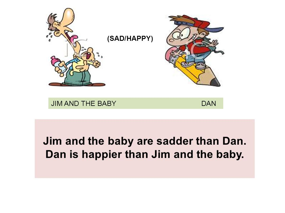 JIM AND THE BABY DAN Jim and the baby are sadder than Dan.