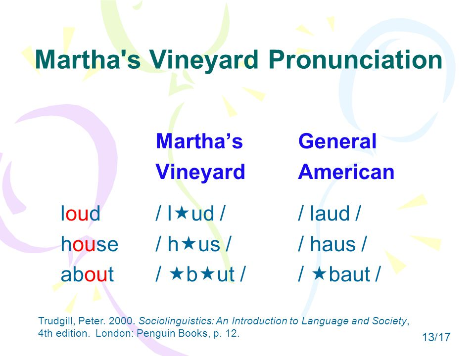 Martha s Vineyard Pronunciation Martha'sGeneral VineyardAmerican loud/ l  ud // laud / house/ h  us // haus / about/  b  ut //  baut / Trudgill, Peter.