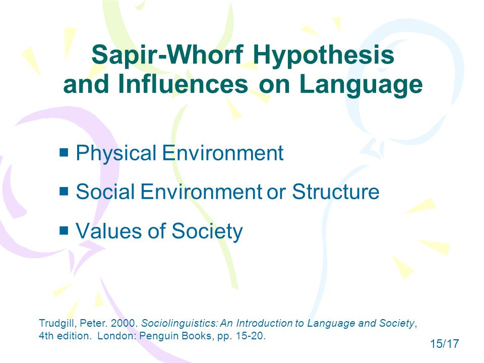 Sapir-Whorf Hypothesis and Influences on Language  Physical Environment  Social Environment or Structure  Values of Society Trudgill, Peter.