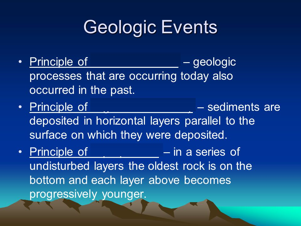 Geologic Events Principle of uniformitarianism – geologic processes that are occurring today also occurred in the past. Principle of original horizont