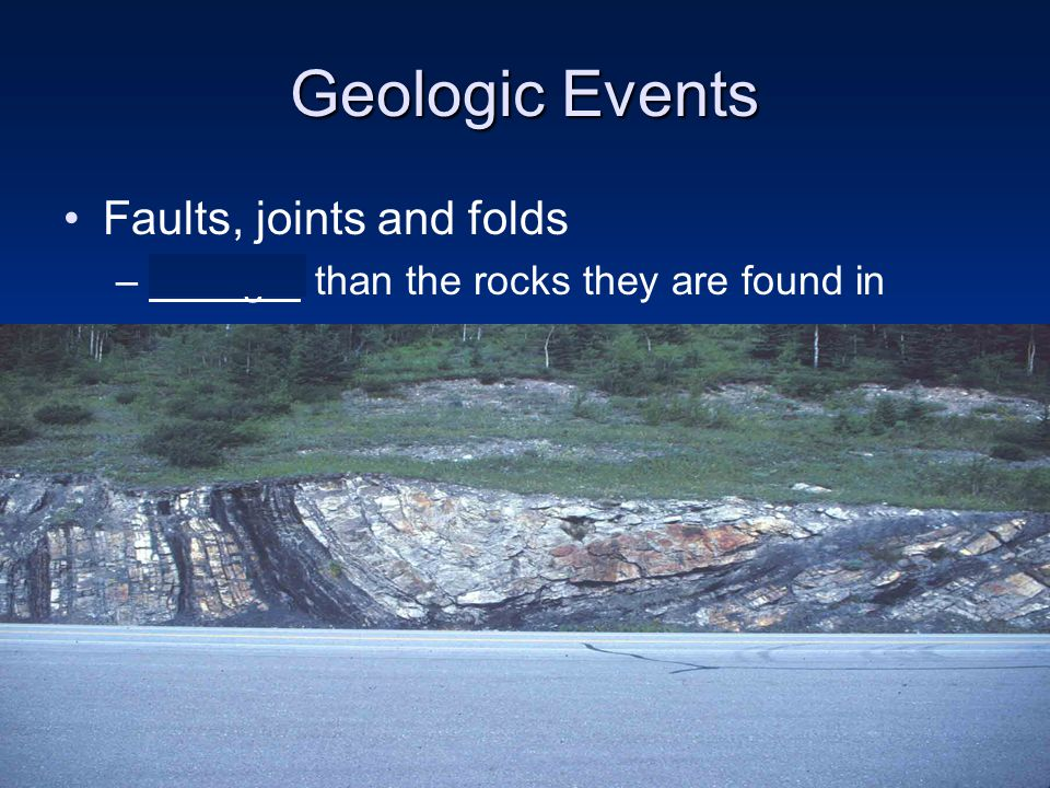 Faults, joints and folds –Younger than the rocks they are found in