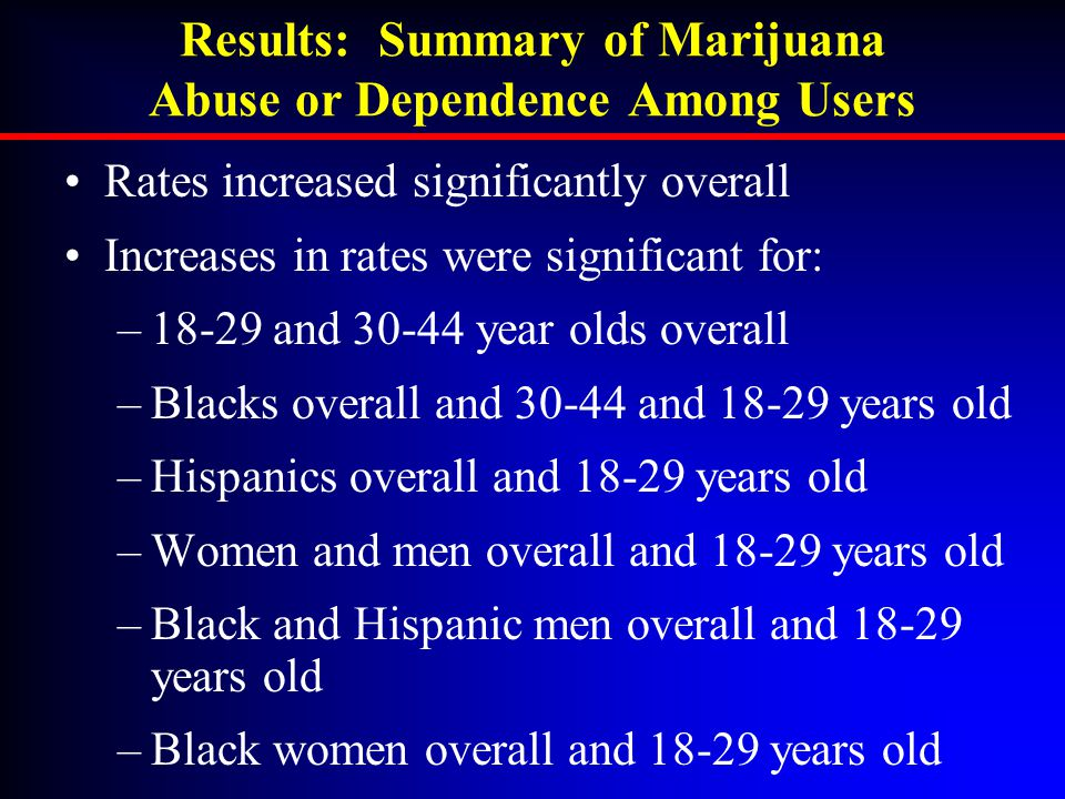 Rates increased significantly overall Increases in rates were significant for: –18-29 and 30-44 year olds overall –Blacks overall and 30-44 and 18-29 years old –Hispanics overall and 18-29 years old –Women and men overall and 18-29 years old –Black and Hispanic men overall and 18-29 years old –Black women overall and 18-29 years old Results: Summary of Marijuana Abuse or Dependence Among Users