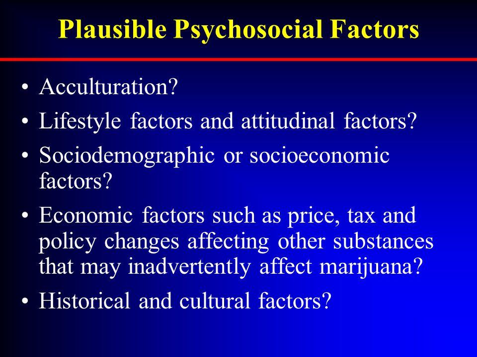 Plausible Psychosocial Factors Acculturation? Lifestyle factors and attitudinal factors? Sociodemographic or socioeconomic factors? Economic factors s