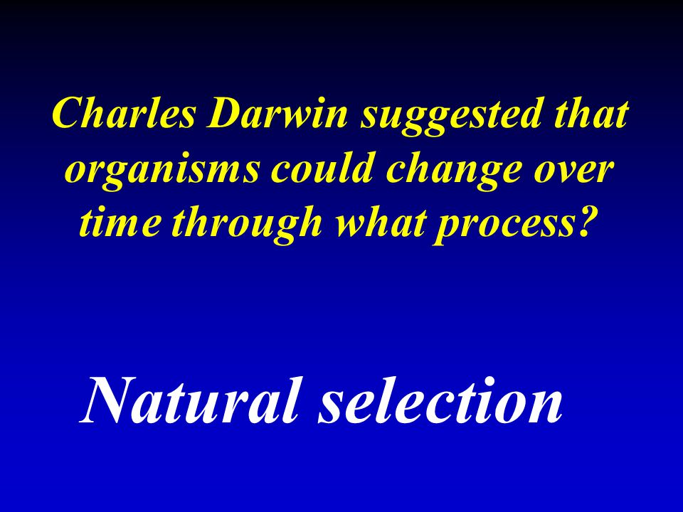 Charles Darwin suggested that organisms could change over time through what process? Natural selection