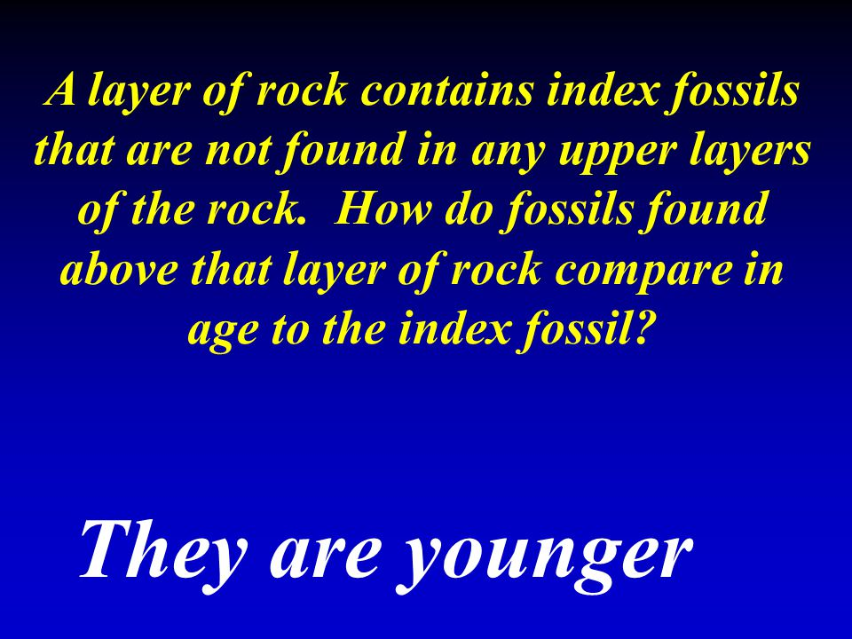 A layer of rock contains index fossils that are not found in any upper layers of the rock. How do fossils found above that layer of rock compare in ag