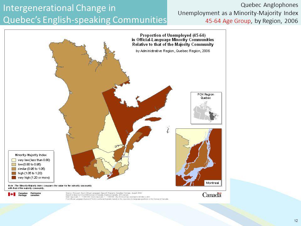 Intergenerational Change in Quebec's English-speaking Communities 12 Quebec Anglophones Unemployment as a Minority-Majority Index 45-64 Age Group, by Region, 2006