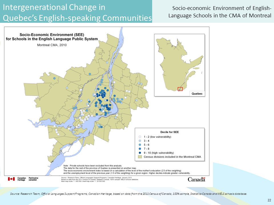 Intergenerational Change in Quebec's English-speaking Communities 22 Socio-economic Environment of English- Language Schools in the CMA of Montreal Source: Research Team, Official Languages Support Programs, Canadian Heritage, based on data from the 2011 Census of Canada, 100% sample, Statistics Canada and MÉLS schools database.