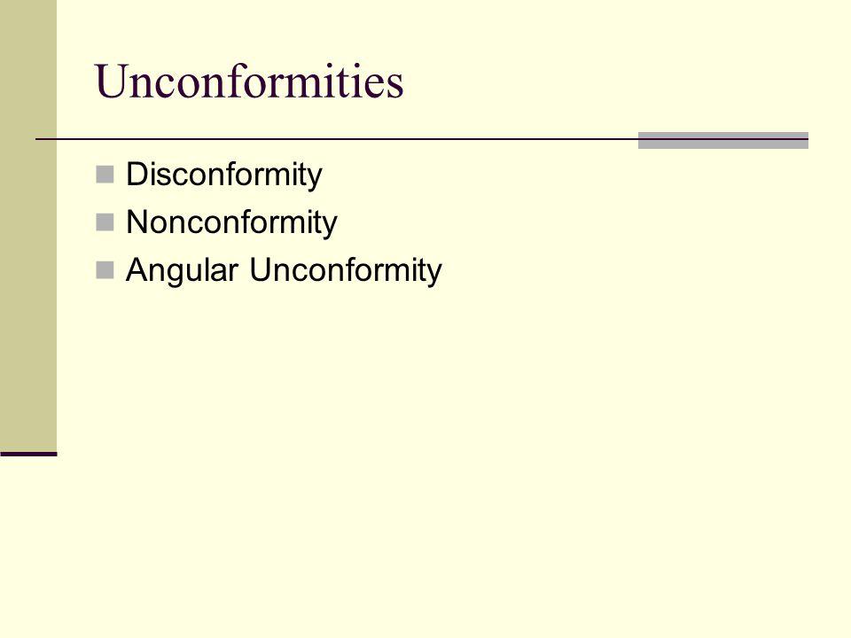 Unconformities Disconformity Nonconformity Angular Unconformity