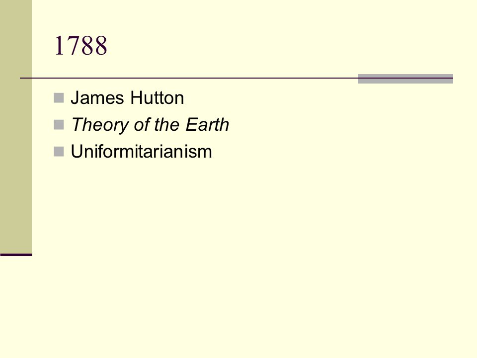 1788 James Hutton Theory of the Earth Uniformitarianism