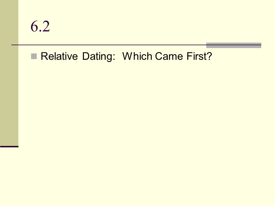 6.2 Relative Dating: Which Came First
