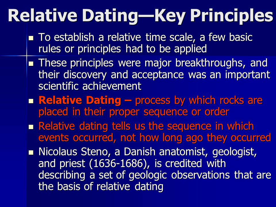 Relative Dating—Key Principles To establish a relative time scale, a few basic rules or principles had to be applied To establish a relative time scal