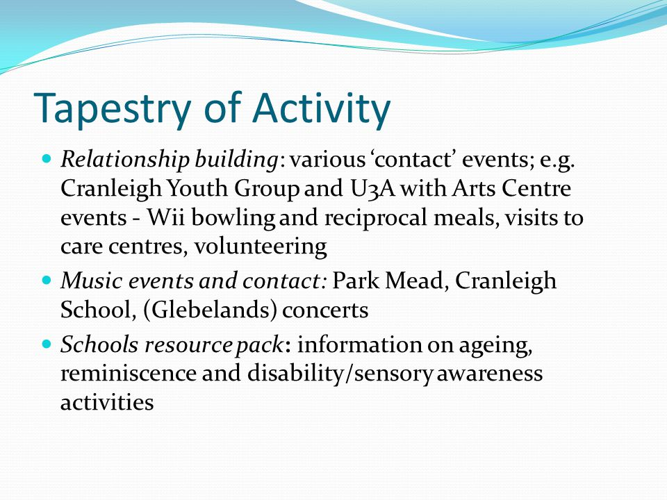 Tapestry of Activity Relationship building: various 'contact' events; e.g.