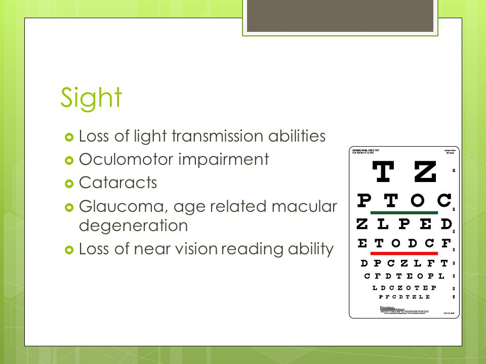 Sight  Loss of light transmission abilities  Oculomotor impairment  Cataracts  Glaucoma, age related macular degeneration  Loss of near vision reading ability