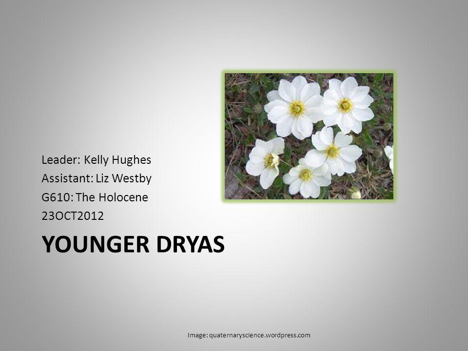 YOUNGER DRYAS Leader: Kelly Hughes Assistant: Liz Westby G610: The Holocene 23OCT2012 Image: quaternaryscience.wordpress.com