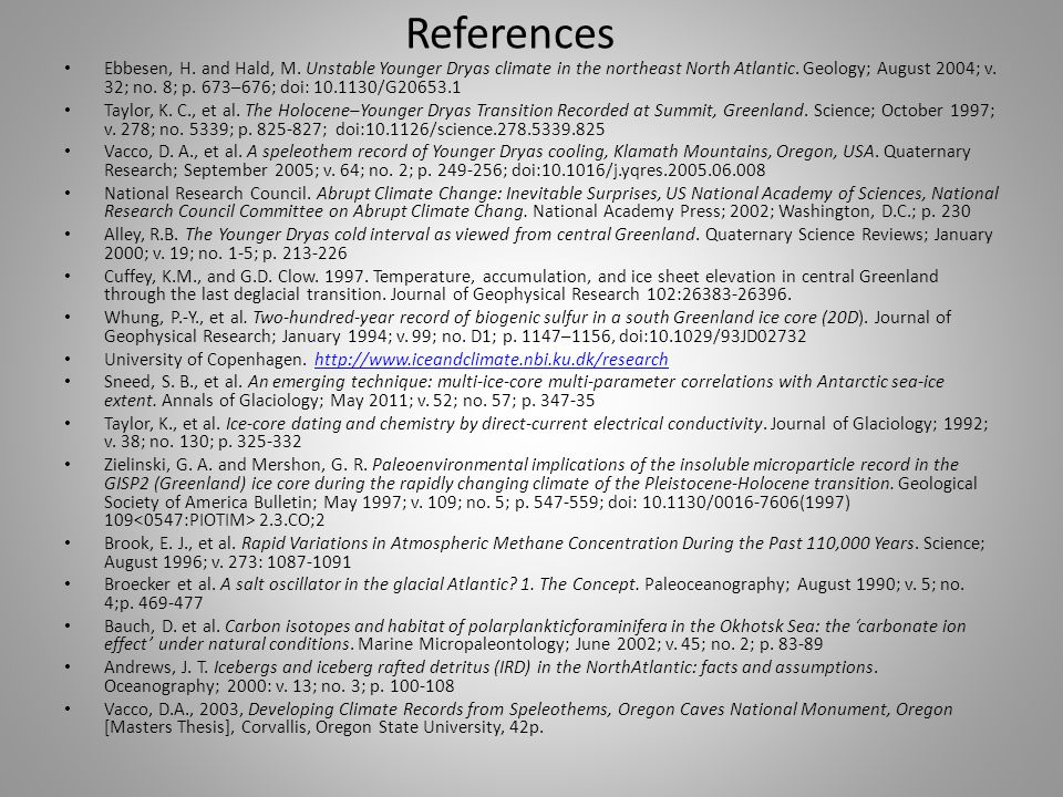 References Ebbesen, H. and Hald, M.