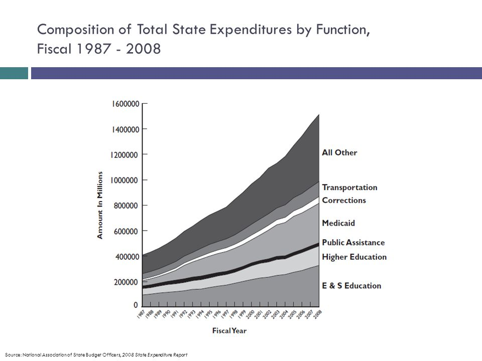 Composition of Total State Expenditures by Function, Fiscal 1987 - 2008 Source: National Association of State Budget Officers, 2008 State Expenditure Report