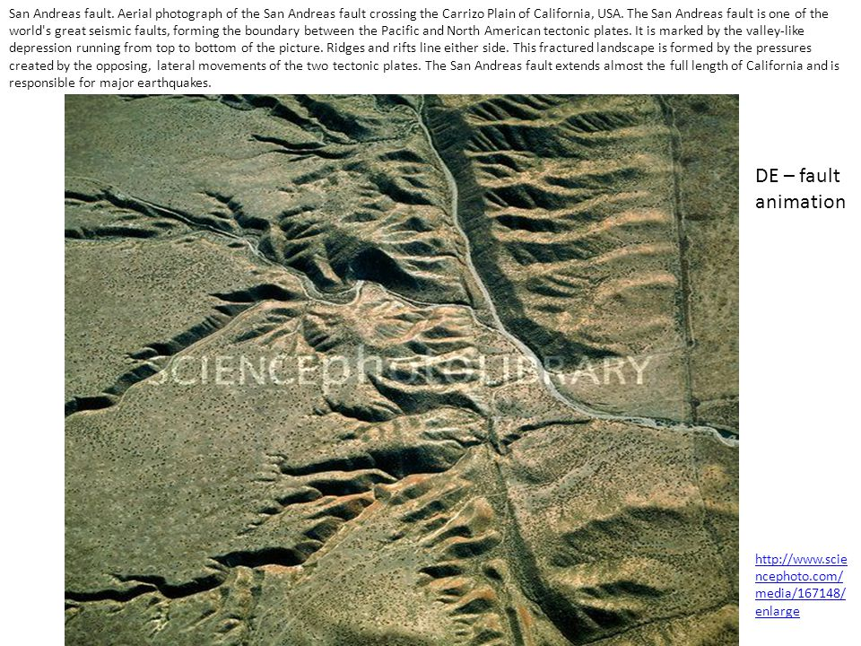 San Andreas fault. Aerial photograph of the San Andreas fault crossing the Carrizo Plain of California, USA. The San Andreas fault is one of the world