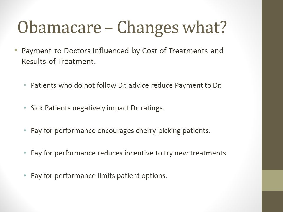 Obamacare – Changes what.
