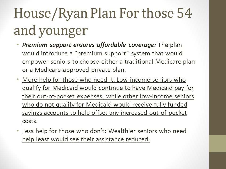House/Ryan Plan For those 54 and younger Premium support ensures affordable coverage: The plan would introduce a premium support system that would empower seniors to choose either a traditional Medicare plan or a Medicare-approved private plan.