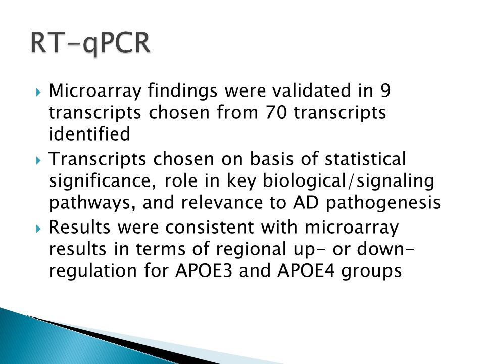 Microarray findings were validated in 9 transcripts chosen from 70 transcripts identified  Transcripts chosen on basis of statistical significance, role in key biological/signaling pathways, and relevance to AD pathogenesis  Results were consistent with microarray results in terms of regional up- or down- regulation for APOE3 and APOE4 groups