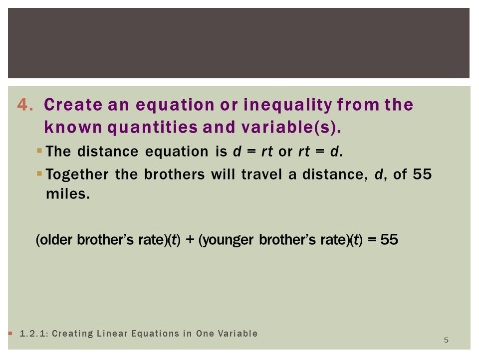 4.Create an equation or inequality from the known quantities and variable(s).