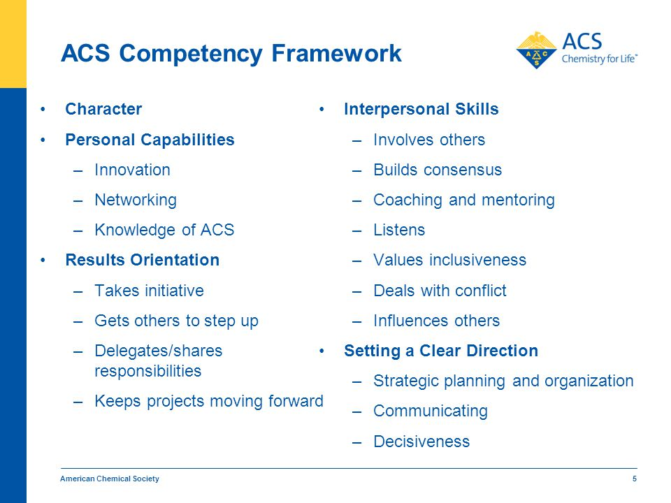 American Chemical Society 5 ACS Competency Framework Character Personal Capabilities –Innovation –Networking –Knowledge of ACS Results Orientation –Ta