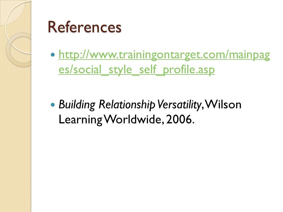 References http://www.trainingontarget.com/mainpag es/social_style_self_profile.asp http://www.trainingontarget.com/mainpag es/social_style_self_profi