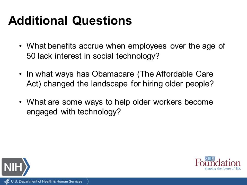 What benefits accrue when employees over the age of 50 lack interest in social technology.