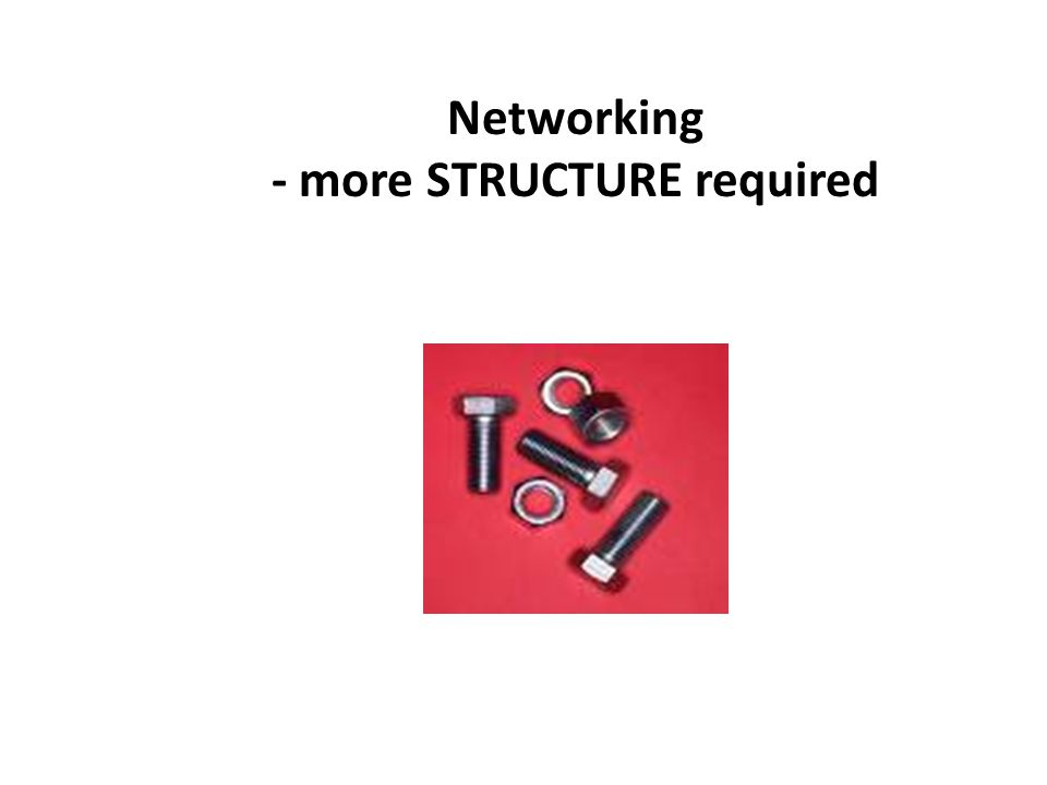 Networking - more STRUCTURE required