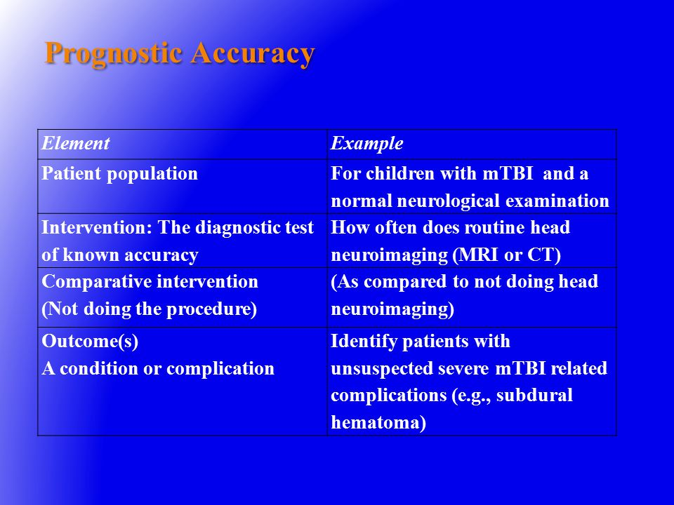 Prognostic Accuracy ElementExample Patient population For children with mTBI and a normal neurological examination Intervention: The diagnostic test of known accuracy How often does routine head neuroimaging (MRI or CT) Comparative intervention (Not doing the procedure) (As compared to not doing head neuroimaging) Outcome(s) A condition or complication Identify patients with unsuspected severe mTBI related complications (e.g., subdural hematoma)
