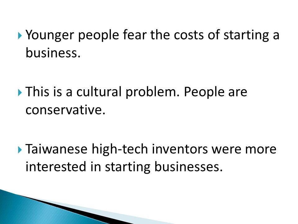  Younger people fear the costs of starting a business.