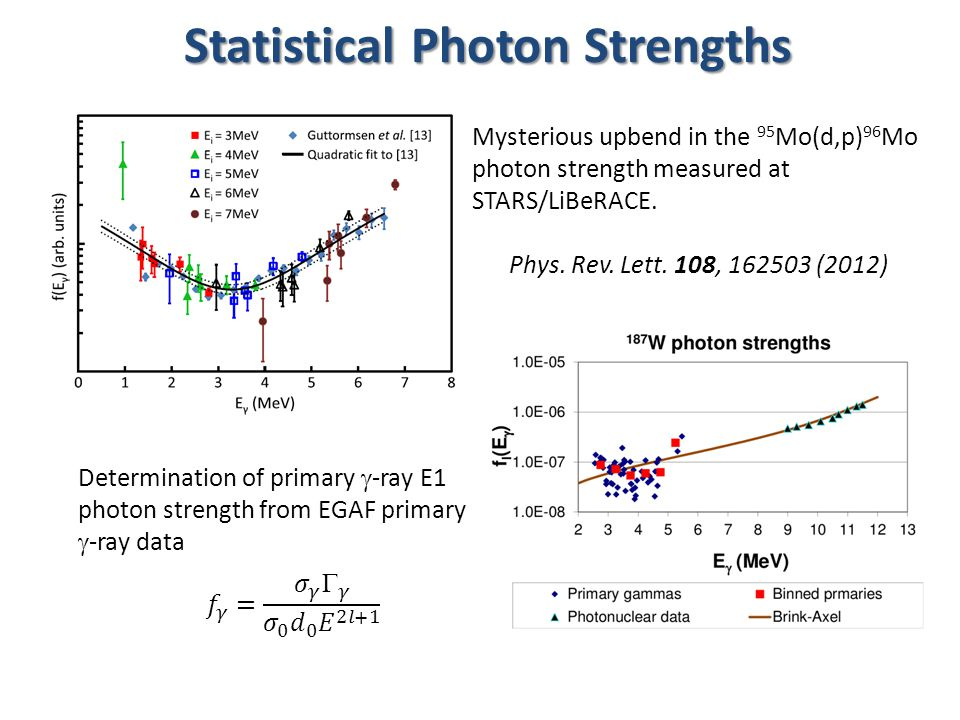 Statistical Photon Strengths Determination of primary  -ray E1 photon strength from EGAF primary  -ray data Mysterious upbend in the 95 Mo(d,p) 96 Mo photon strength measured at STARS/LiBeRACE.