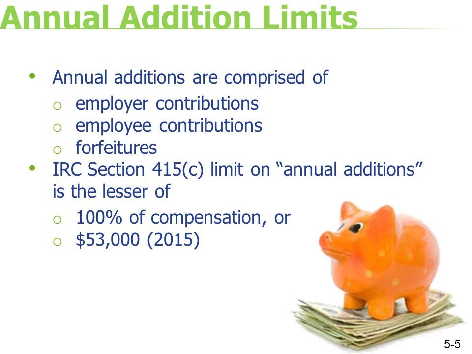 Contribution Limits Employer deduction limit: 25% of payroll (does not include employee deferral amounts) Combined employee and employer contribution limit: $53,000 (2015) or 100% of compensation Maximum includible compensation: $265,000 (2015) 5-6