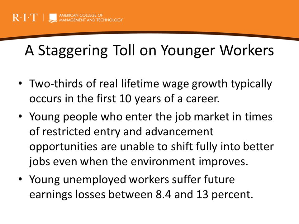 A Staggering Toll on Younger Workers Two-thirds of real lifetime wage growth typically occurs in the first 10 years of a career. Young people who ente