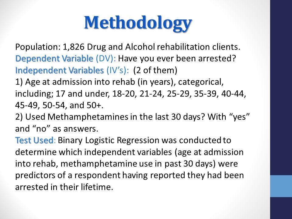Methodology Population: 1,826 Drug and Alcohol rehabilitation clients. Dependent Variable Dependent Variable (DV): Have you ever been arrested? Indepe