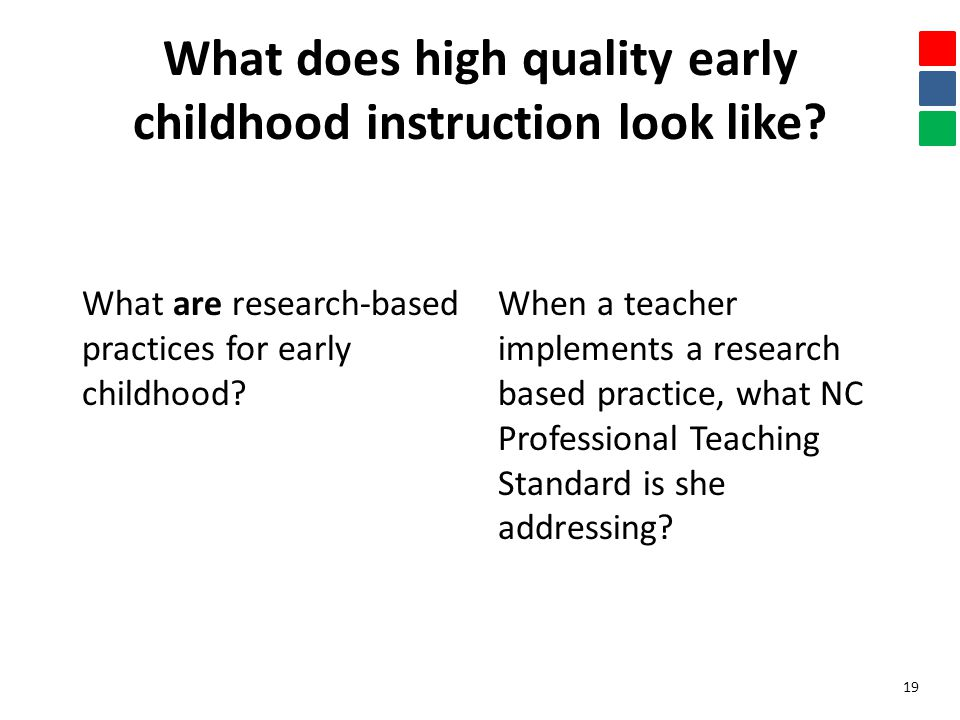 What does high quality early childhood instruction look like? What are research-based practices for early childhood? When a teacher implements a resea
