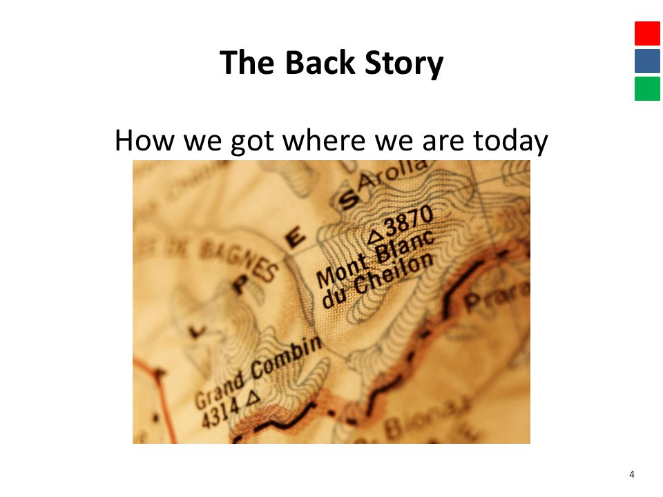 The Back Story How we got where we are today 4