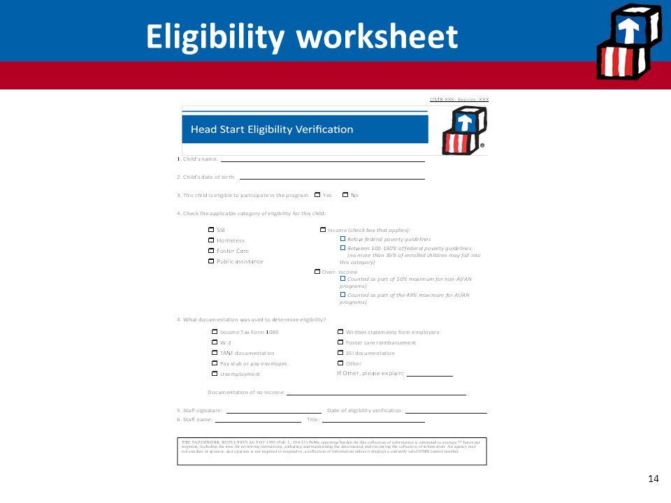Eligibility worksheet 14