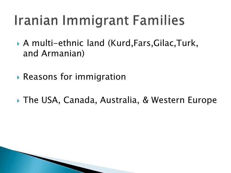  A multi-ethnic land (Kurd,Fars,Gilac,Turk, and Armanian)  Reasons for immigration  The USA, Canada, Australia, & Western Europe
