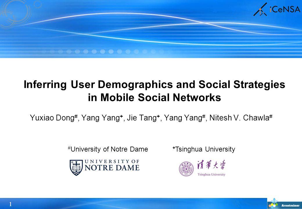 22 Infer user demographics based on social strategies social strategies + mobile social network  user demographics