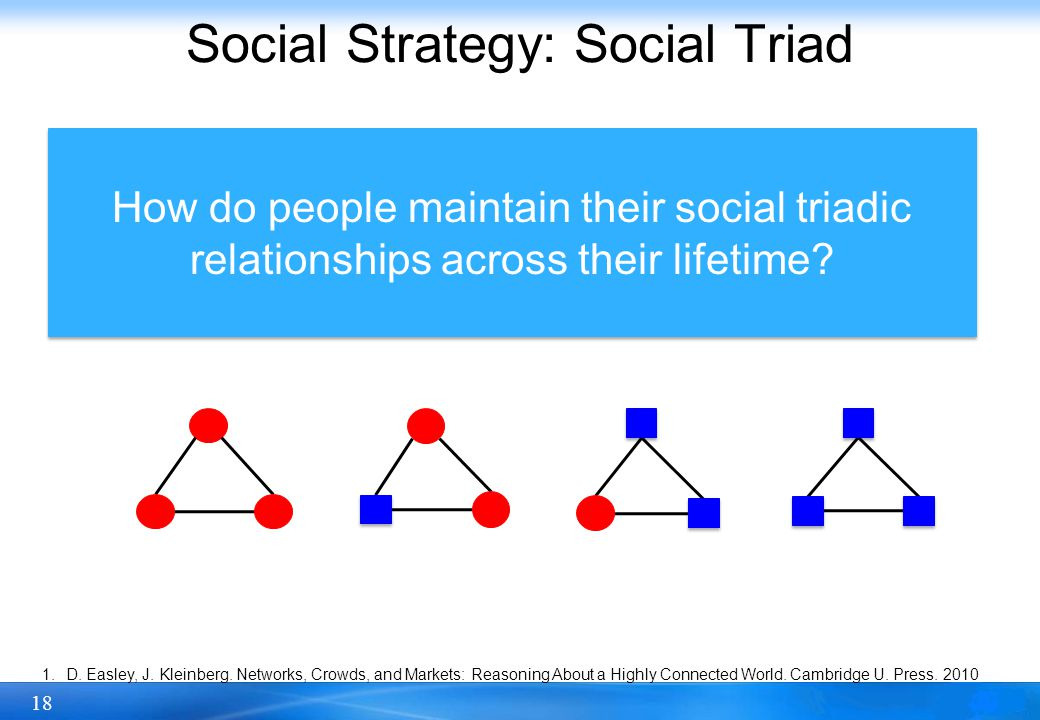 18 Social Strategy: Social Triad Social triad is one of the simplest grouping of individuals that can be studied and is mostly investigated by microsociology [1].