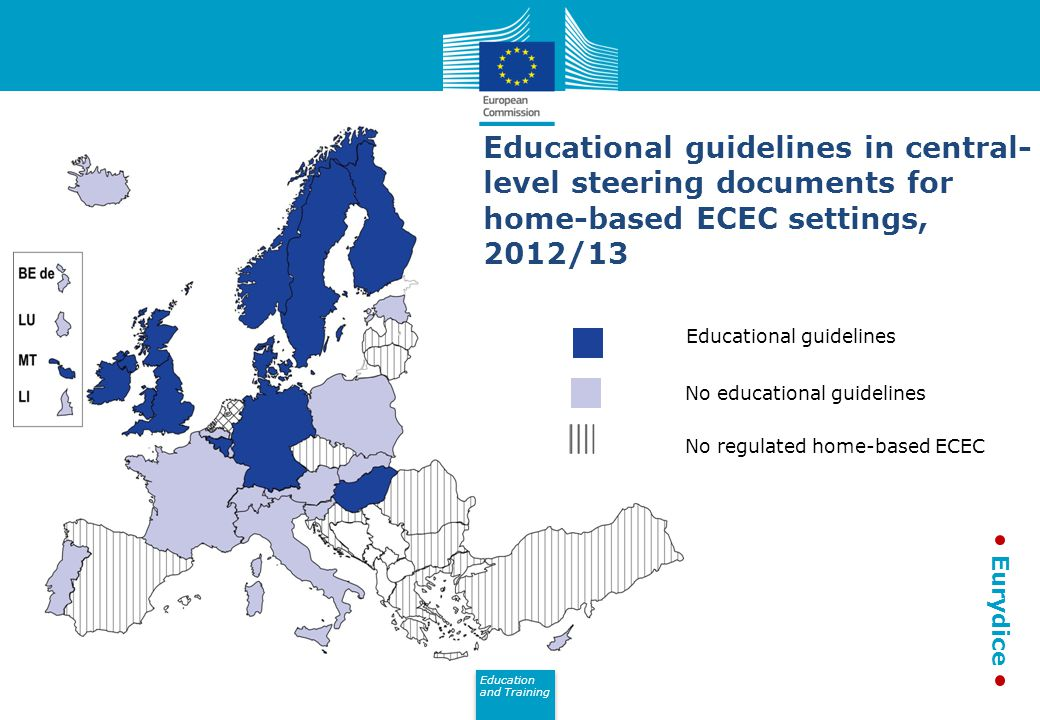 Education and Training Eurydice Educational guidelines in central- level steering documents for home-based ECEC settings, 2012/13 Educational guidelines No educational guidelines No regulated home-based ECEC