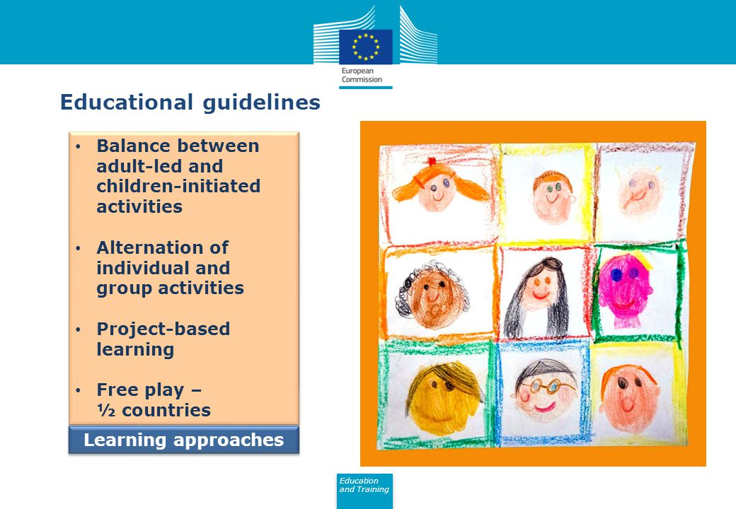 Education and Training Eurydice Balance between adult-led and children-initiated activities Alternation of individual and group activities Project-based learning Free play – ½ countries Balance between adult-led and children-initiated activities Alternation of individual and group activities Project-based learning Free play – ½ countries Educational guidelines Learning approaches
