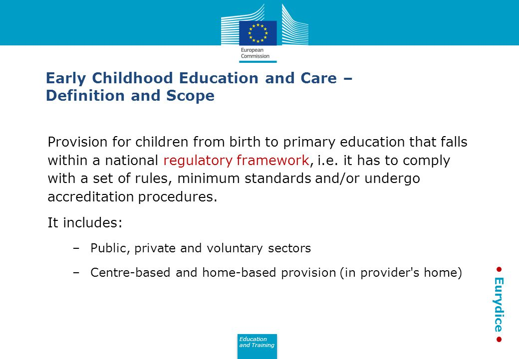 Education and Training Eurydice Provision for children from birth to primary education that falls within a national regulatory framework, i.e.