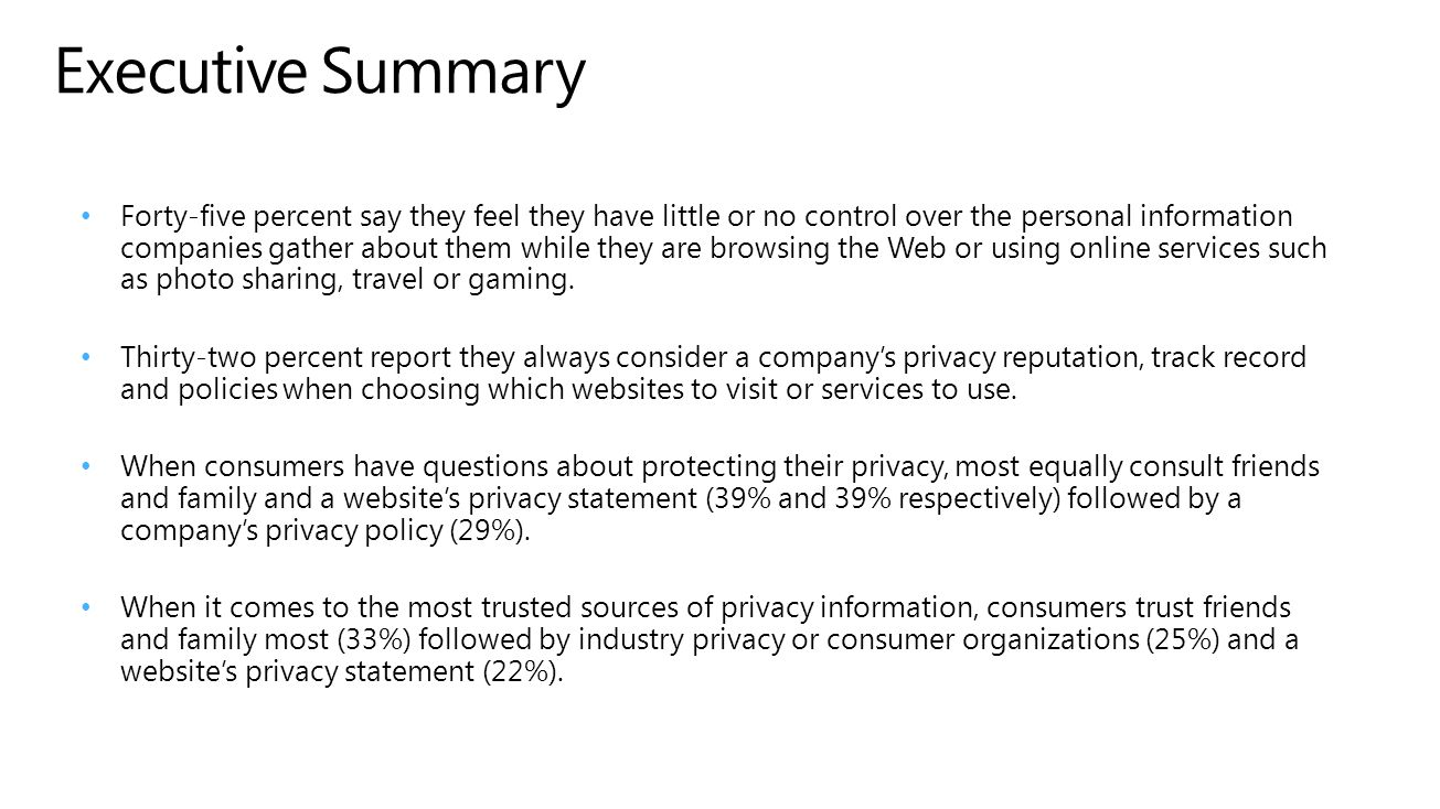 Executive Summary Forty-five percent say they feel they have little or no control over the personal information companies gather about them while they are browsing the Web or using online services such as photo sharing, travel or gaming.