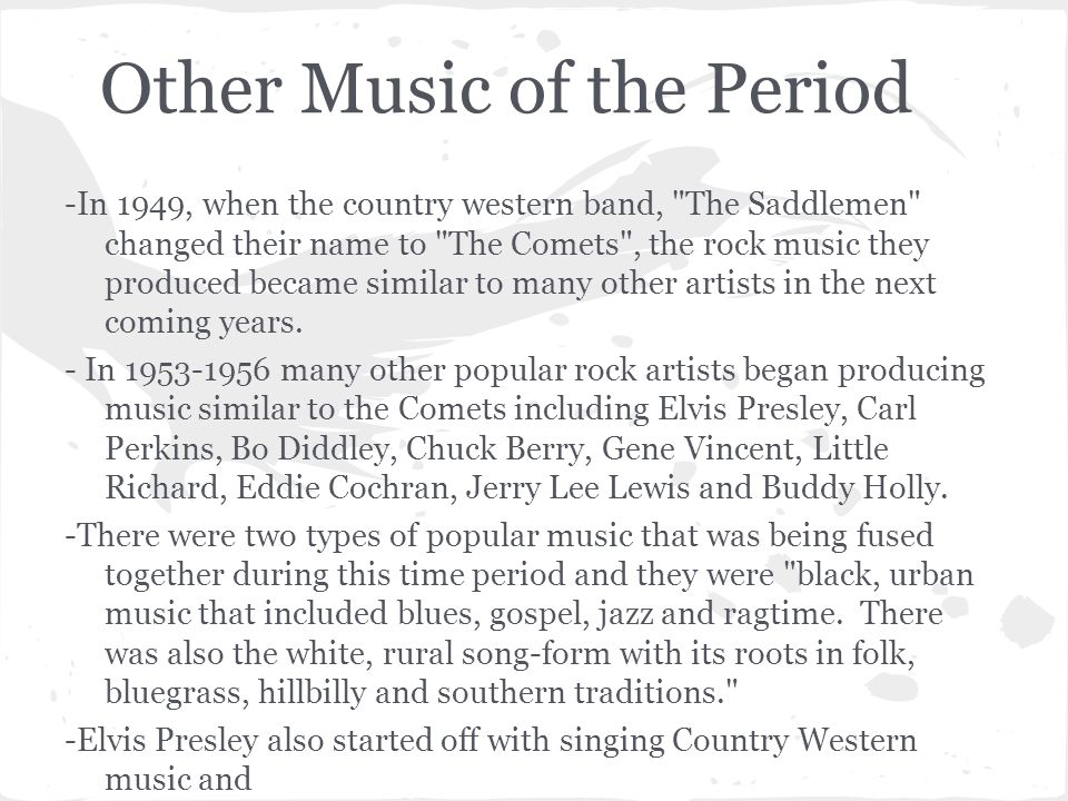 Other Music of the Period -In 1949, when the country western band,