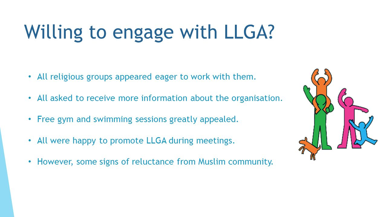 Willing to engage with LLGA. All religious groups appeared eager to work with them.