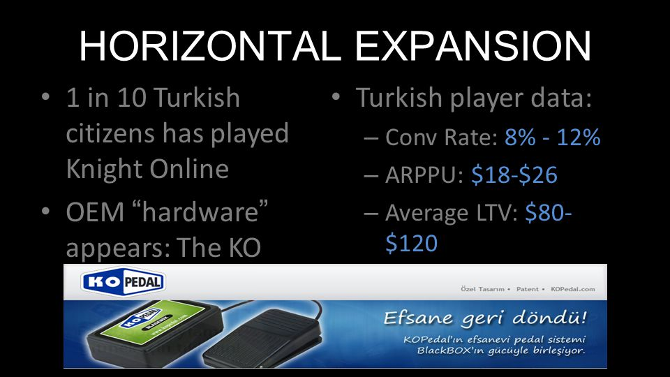 """HORIZONTAL EXPANSION 1 in 10 Turkish citizens has played Knight Online OEM """"hardware"""" appears: The KO Pedal Turkish player data: – Conv Rate: 8% - 12%"""