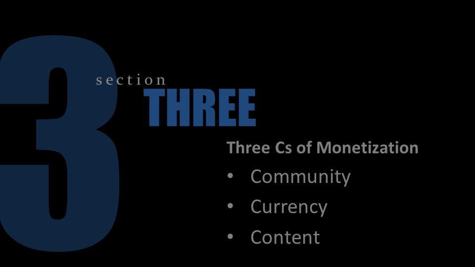 3 s e c t i o n THREE Three Cs of Monetization Community Currency Content