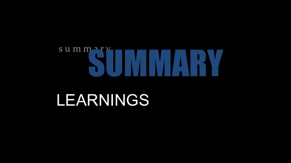 LEARNINGS s u m m a r y SUMMARY